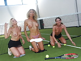 Mom and teens playing tennis