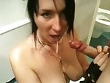 Busty wife taking stangers cum in front of hubby