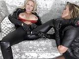 Filthy leather clad lesbian sluts fingering vibrator fuck