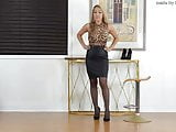 Black skirt, pantyhose and heels 2