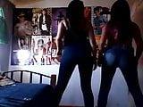 Deux latinas bougent bien leurs gros culs en jeans moulants