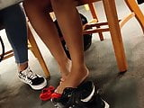 Candid Gorgeous Latina Feet in Library