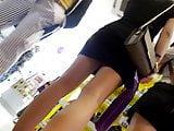 Teen perfect long legs gives upskirt