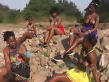 Topless African girls with nice tits dancing and talking