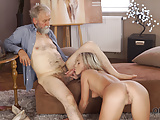 VIP4K. Pretty blonde with perfect body makes love to old dud