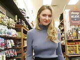 Hot Teen Slut with Nipples Erect Flashing All Over Store