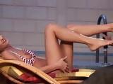 Hot Blonde Babe footjob makes the big dick cum hard on feet