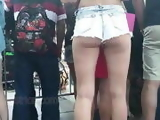 Candid teen ass cheeks in denim shorts