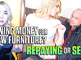 DEBT4k. Blonde hairdresser wants to buy furniture so why