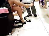 Shoe shopping, sexy thick legs feets in heels