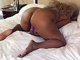 Ebony horny slut doggystyle masturbation in hotel room