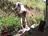 Femdom Ladies enjoy trample slaves