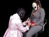 Femdom Mistress Humiliates Pink Sissy Slut Maid with Strapon