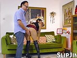 British beauty impaled doggy style by an older gentleman