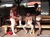 Czech mature BBW lady with little skinny boy femfom play