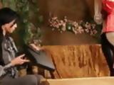 Women abuse a woman using strapon