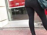 Turkish woman ass in black jean on ATM