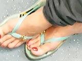 Grandmas feet on the subway
