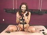 Brunette Self Bondage and Vibed