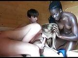 Threesome with ebony in sauna
