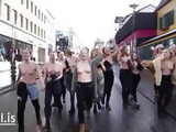 Icelandic nipple activists showing their tits on the street