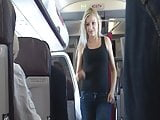 blonde pissing in airplane