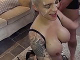 Short-haired blonde tattooed MILF bukkake