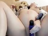 Pregnant dildo masturbation