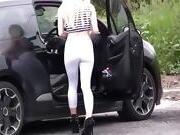 Babe Walking White Spandex Leggings