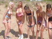 Lesbian teens and milfs try cocks on beach
