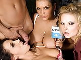 Three Horny Reporters Enjoy Group Sex