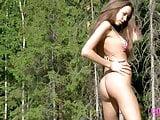 Tiny Teen Lena B Loses Bikini To Get Naked On Car In Woods?