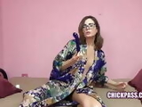 ChickPass - Mature Helena plays with her glass toy