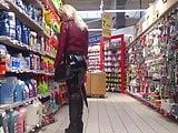 Blonde milf w tight leather leggings public market