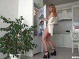 Fridge humping. Gorgeous Milf cums on the fridge door